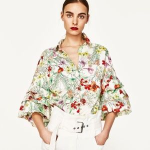 ZARA Floral Print Puffy Sleeves Button Down Shirt